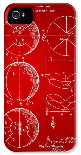1929 Basketball Patent Artwork - Red IPhone 5 Case by Nikki Marie Smith