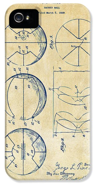1929 Basketball Patent Artwork - Vintage IPhone 5 Case by Nikki Marie Smith