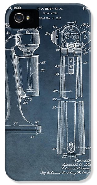 1930 Drink Mixer Patent Blue IPhone 5 Case