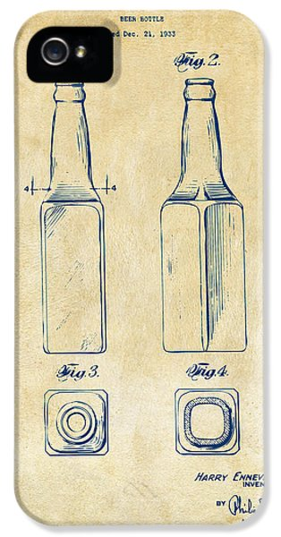1934 Beer Bottle Patent Artwork - Vintage IPhone 5 Case by Nikki Marie Smith