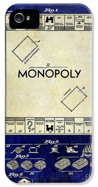 1935 Monopoly Patent Drawing 2 Tone Blue IPhone 5 Case by Jon Neidert