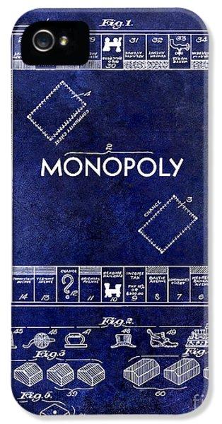 1935 Monopoly Patent Drawing Blue IPhone 5 Case by Jon Neidert