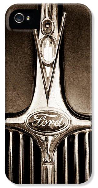 1936 Ford Phaeton V8 Hood Ornament - Emblem IPhone 5 Case by Jill Reger
