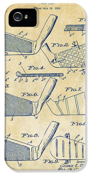 1936 Golf Club Patent Artwork Vintage IPhone 5 Case by Nikki Marie Smith