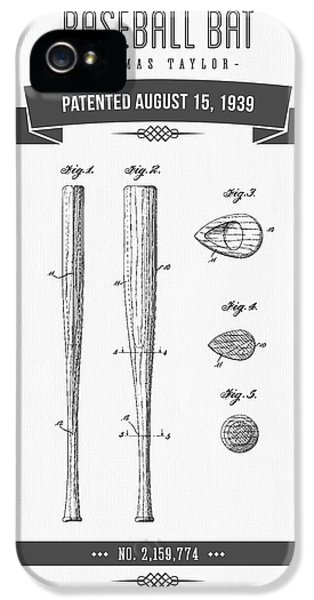 1939 Baseball Bat Patent Drawing IPhone 5 Case by Aged Pixel