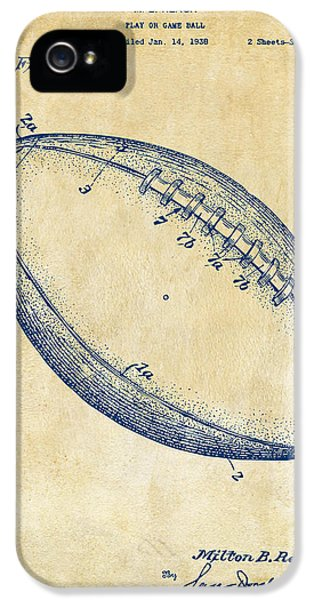1939 Football Patent Artwork - Vintage IPhone 5 Case by Nikki Marie Smith