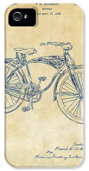 1939 Schwinn Bicycle Patent Artwork Vintage IPhone 5 Case by Nikki Marie Smith