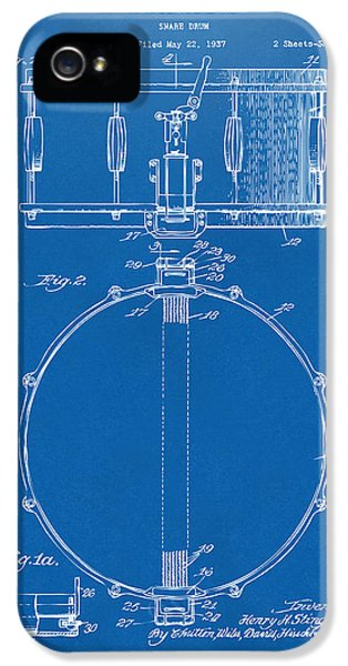 Drum iPhone 5 Case - 1939 Snare Drum Patent Blueprint by Nikki Marie Smith
