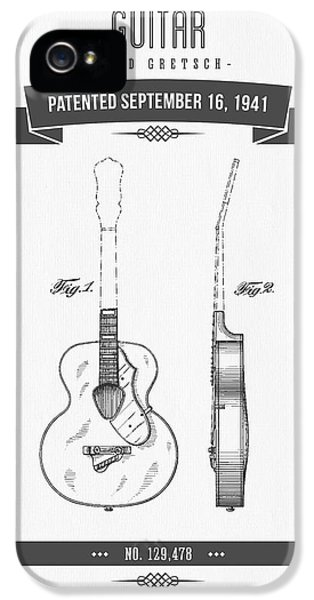 Guitar iPhone 5 Case - 1941 Guitar Patent Drawing by Aged Pixel