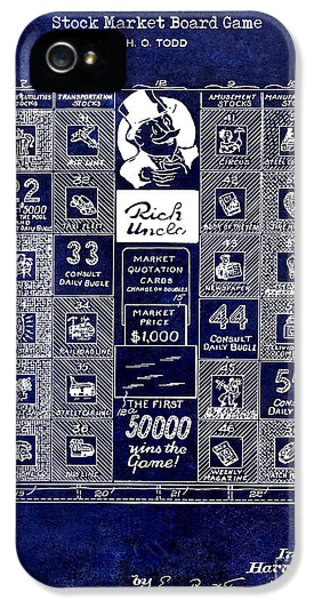 1950 Stock Market Game Patent Drawing Blue IPhone 5 Case by Jon Neidert