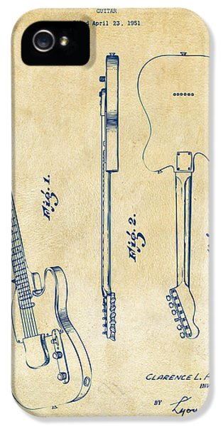 Guitar iPhone 5 Case - 1951 Fender Electric Guitar Patent Artwork - Vintage by Nikki Marie Smith