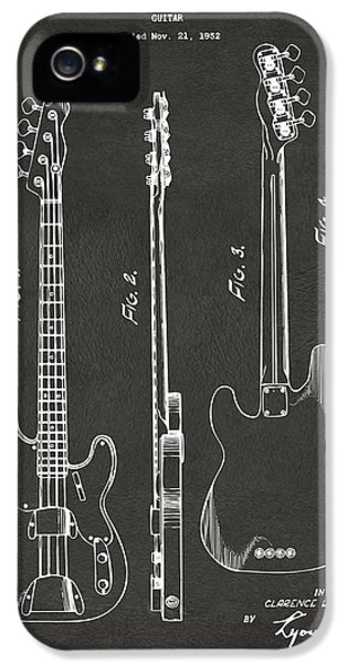 Guitar iPhone 5 Case - 1953 Fender Bass Guitar Patent Artwork - Gray by Nikki Marie Smith