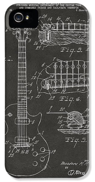 Guitar iPhone 5 Case - 1955 Mccarty Gibson Les Paul Guitar Patent Artwork - Gray by Nikki Marie Smith