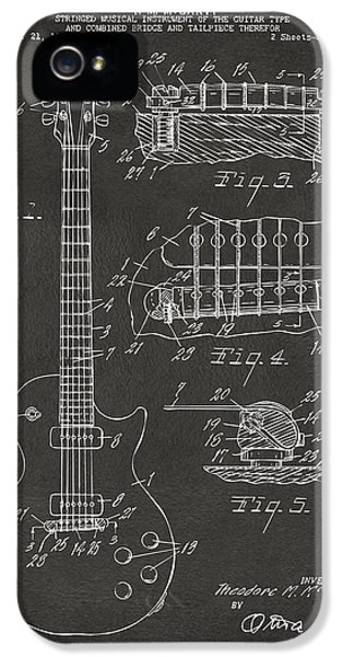 1955 Mccarty Gibson Les Paul Guitar Patent Artwork - Gray IPhone 5 Case by Nikki Marie Smith