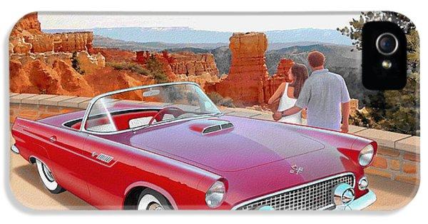 1955 Thunderbird At  Bryce Canyon  Classic Ford Art Sketch Rendering Art Sketch Rendering            IPhone 5 Case