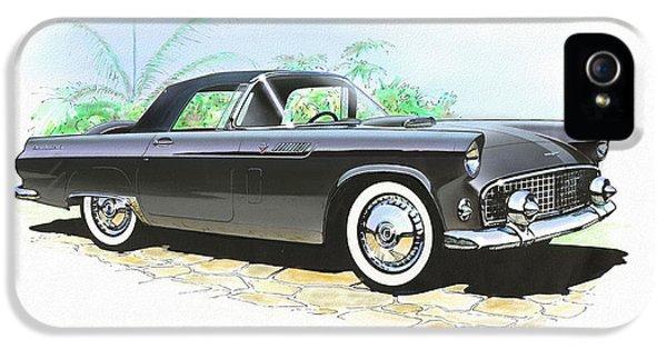 1956 Ford Thunderbird  Black  Classic Vintage Sports Car Art Sketch Rendering         IPhone 5 Case