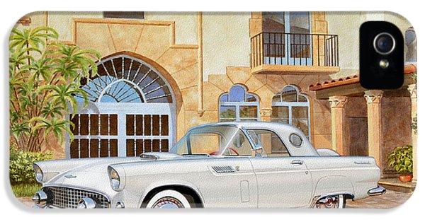 Gil iPhone 5 Case - 1956 Thunderbird At Palm Beach  Classic Vintage Ford Art Sketch Rendering          by John Samsen