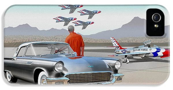 1957 Thunderbird  With F-84 Gunmetal Vintage Ford Classic Art Sketch Rendering           IPhone 5 Case