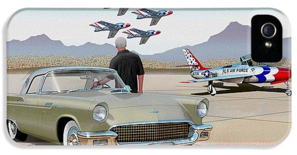 Gil iPhone 5 Case - 1957 Thunderbird  With F-84 Thunderbirds Inca Vintage Ford Classic Art Sketch Rendering            by John Samsen