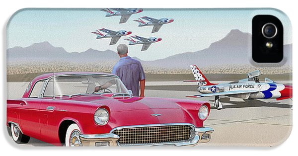 1957 Thunderbird  With F-84 Thunderbirds  Red  Classic Ford Vintage Art Sketch Rendering         IPhone 5 Case