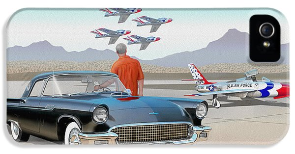 1957 Thunderbird  With F-84 Thunderbirds Vintage Ford Classic Car Art Sketch Rendering          IPhone 5 Case