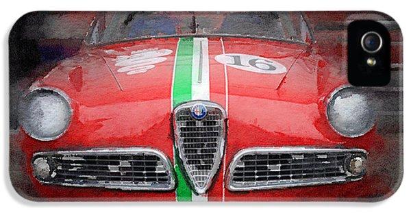 1959 Alfa Romeo Giulietta Watercolor  IPhone 5 Case by Naxart Studio