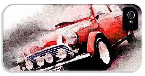 1963 Austin Mini Cooper Watercolor IPhone 5 Case by Naxart Studio