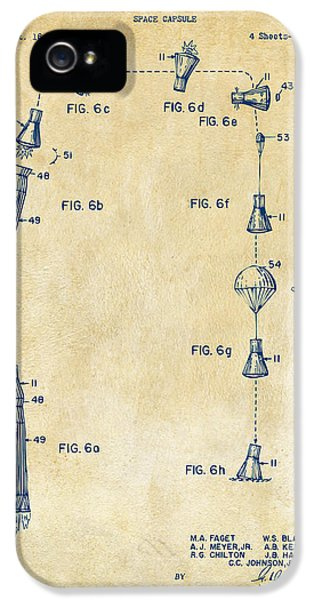 1963 Space Capsule Patent Vintage IPhone 5 Case by Nikki Marie Smith
