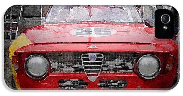 1967 Alfa Romeo Gtv Watercolor IPhone 5 Case by Naxart Studio