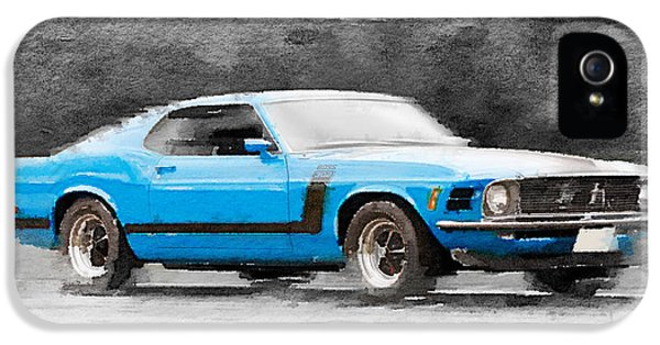 1970 Ford Mustang Boss Blue Watercolor IPhone 5 Case