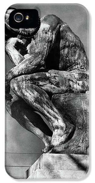 Breathe iPhone 5 Case - 1970s Bronze Statue Of Rodins Thinker by Vintage Images