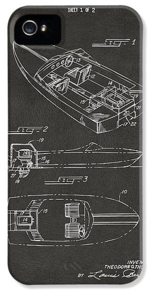 1972 Chris Craft Boat Patent Artwork - Gray IPhone 5 Case