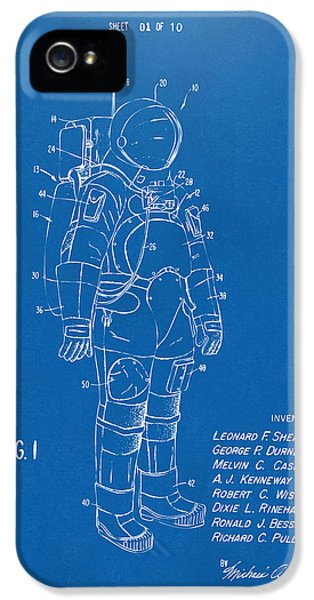 Space Ships iPhone 5 Case - 1973 Space Suit Patent Inventors Artwork - Blueprint by Nikki Marie Smith