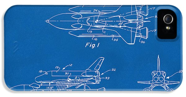 Space Ships iPhone 5 Case - 1975 Space Shuttle Patent - Blueprint by Nikki Marie Smith