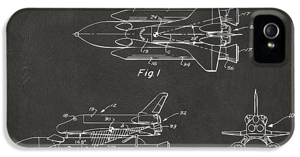 Space Ships iPhone 5 Case - 1975 Space Shuttle Patent - Gray by Nikki Marie Smith