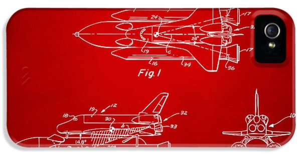 Space Ships iPhone 5 Case - 1975 Space Shuttle Patent - Red by Nikki Marie Smith