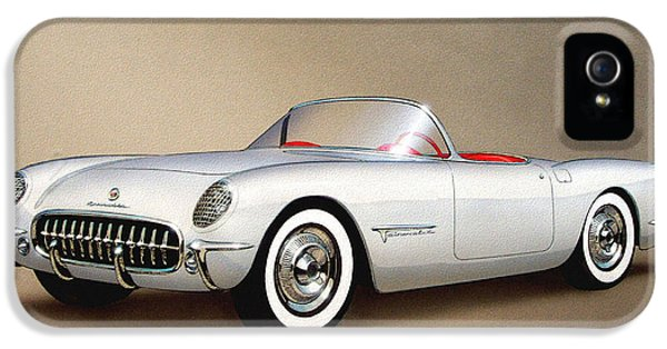 1953 Corvette Classic Vintage Sports Car Automotive Art IPhone 5 Case by John Samsen