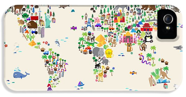 Animal Map Of The World For Children And Kids IPhone 5 Case by Michael Tompsett