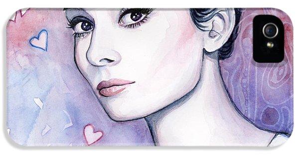 Audrey Hepburn iPhone 5 Case - Audrey Hepburn Fashion Watercolor by Olga Shvartsur