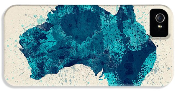 Australia Paint Splashes Map IPhone 5 Case by Michael Tompsett