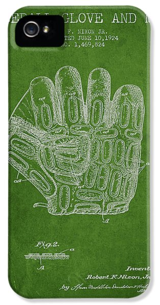 Softball iPhone 5 Case - Baseball Glove Patent Drawing From 1924 by Aged Pixel