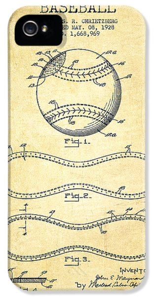 Softball iPhone 5 Case - Baseball Patent Drawing From 1928 by Aged Pixel