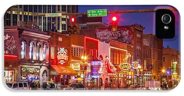 Broadway Street Nashville IPhone 5 Case by Brian Jannsen