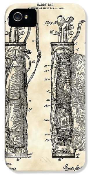 Golf Bag Patent 1905 - Vintage IPhone 5 Case by Stephen Younts