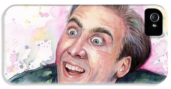 Nicolas Cage You Don't Say Watercolor Portrait IPhone 5 Case