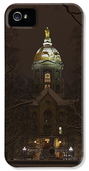 Notre Dame Golden Dome Snow IPhone 5 Case by John Stephens