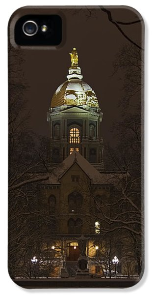 Notre Dame Golden Dome Snow IPhone 5 / 5s Case by John Stephens