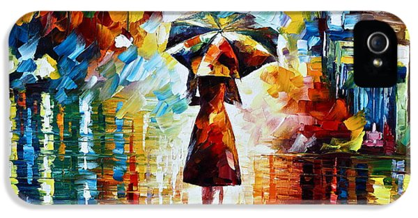 Town iPhone 5 Case - Rain Princess - Palette Knife Landscape Oil Painting On Canvas By Leonid Afremov by Leonid Afremov