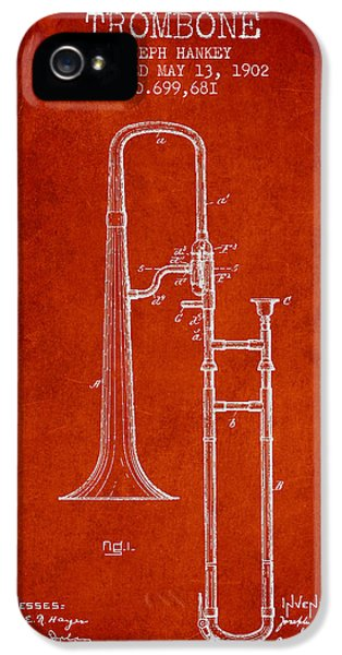 Trombone iPhone 5 Case - Trombone Patent From 1902 - Red by Aged Pixel