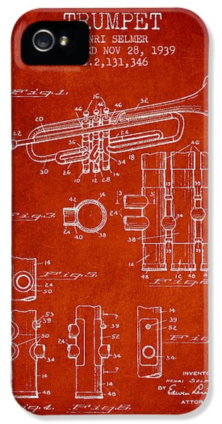 Trumpet Patent From 1939 - Red IPhone 5 Case by Aged Pixel